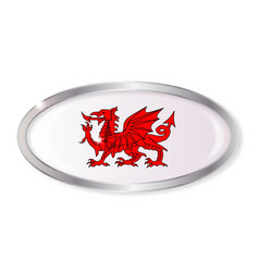 Welsh dragon oval button vector