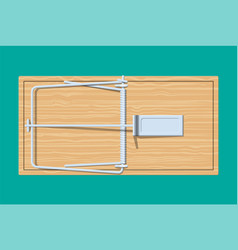 Wooden mouse trap vector