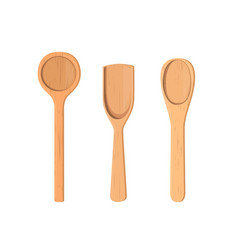 Wooden spoons collection realistic vector