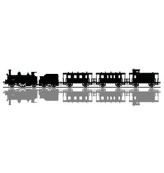 Black silhouette of a vintage steam train vector