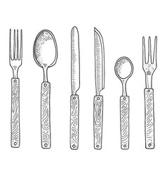 dining or snack fork for oysters ice cream spoon vector image vector image