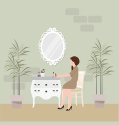 Girl sitting in chair for make-up with table and vector