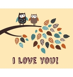 i love you owl bird card vector image vector image