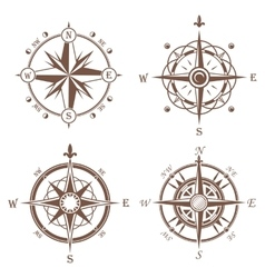 Isolated vintage or old compass rose icons vector image