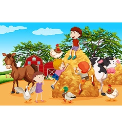 Kids playing in the farmyard vector
