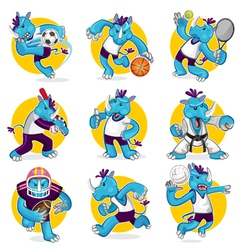 Rhino Sports Mascot Collection Set vector image vector image