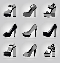 women trendy platform high heel shoes icons set vector image vector image