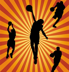 basketball silhouette collection vector image vector image