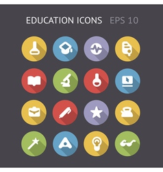 Flat icons for education and science vector image vector image