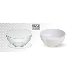 glass and ceramic bowl set vector image vector image