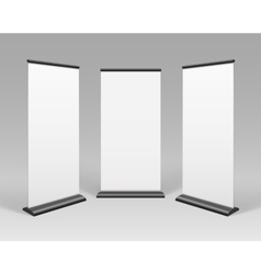 White Blank Roll up Business Banner Stands vector image