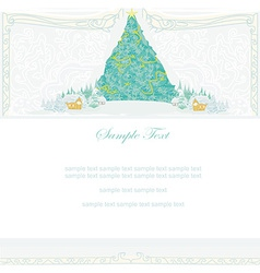 Abstract christmas tree in winter village vector image