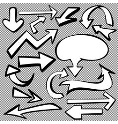 Arrows set sketch hand drawn cartoon vector