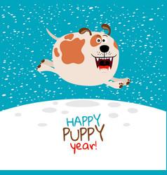 dog running on snow vector image