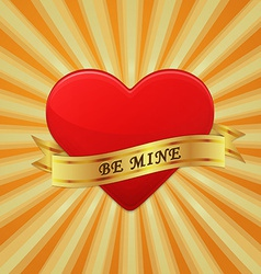 Heart with ribbon and phrase be mine vector