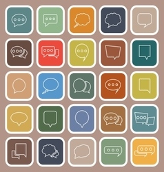 Speech Bubble line flat icons on brown background vector image vector image