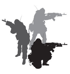 spetsnaz silhouettes vector image vector image