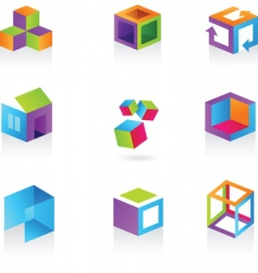 3D icons and logos vector image vector image