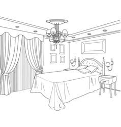 bedroom furniture doodle line sketch of home vector image