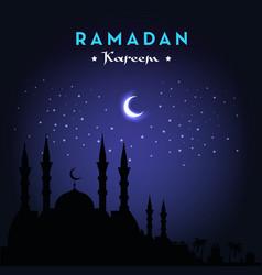 ramadan kareem greeting card with mosque and night vector image