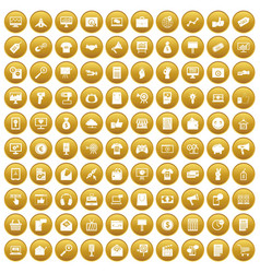 100 internet marketing icons set gold vector image