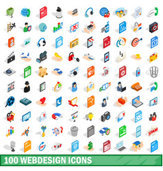 100 webdesign icons set isometric 3d style vector image
