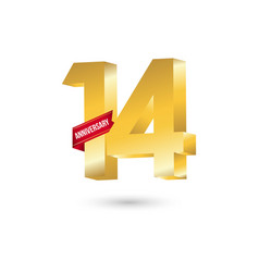 14 year anniversary template design vector