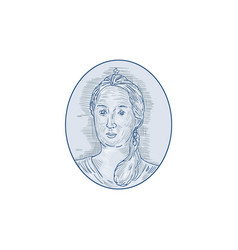 18th century russian empress bust oval drawing vector
