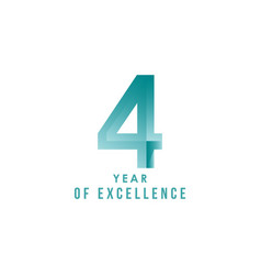 4 year excellence template design vector image