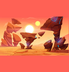 Alien planet desert in cosmos martian landscape vector