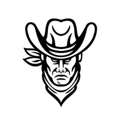 american cowboy head sports mascot black and white vector image