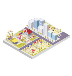 Amusement park and children playground attractions vector