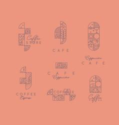 Art deco coffee labels coral vector