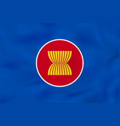 Asean waving flag asean national flag background vector