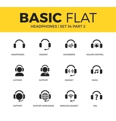 basic set headphones icons vector image