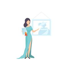 beautiful woman wearing long dress holding vector image