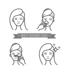 Beauty icons acne treatment face cleaning mask vector