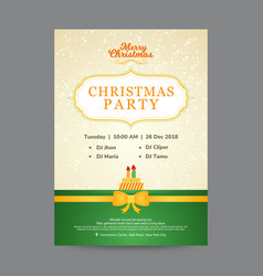 Beige and green christmas party invitation card vector