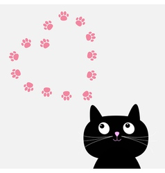 Big black cat and paw print heart frame template vector image