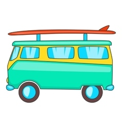 Bus with surfboard icon cartoon style vector image