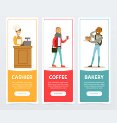 cashier coffee bakery banners for advertising vector image