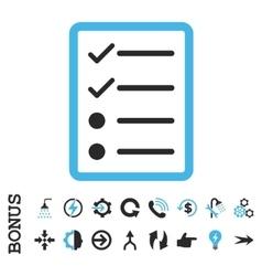 Checklist Page Flat Icon With Bonus vector image