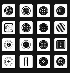 Clothes button icons set squares vector
