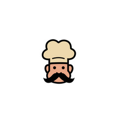 creative cute chef head with moustache logo vector image