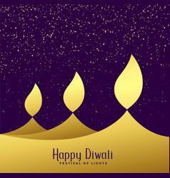 Creative three diwali golden diya background vector