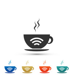 cup of coffee shop with free wifi zone icon vector image