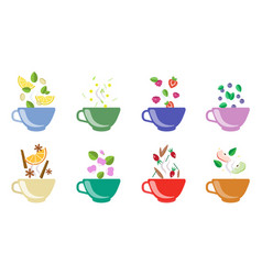 cups herbal tea set fruit and berry tea vector image