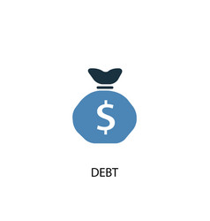 debt concept 2 colored icon simple blue element vector image