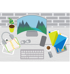 desktop with a curved monitor coworking vector image