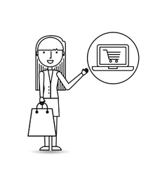 Drawing girl shopping with laptop online vector